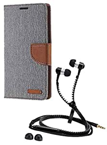 Aart Fancy Wallet Dairy Jeans Flip Case Cover for MotorolaMotorola-MotoG (Grey) + Zipper Earphones/Hands free With Mic *Stylish Design* for all Mobiles- computers & laptops By Aart Store.