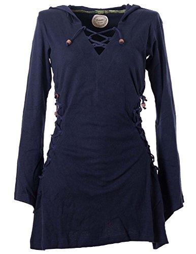 Vishes - Alternative Bekleidung - Elfenkleid mit Zipfelkapuze und Bändern zum Schnüren dunkelblau 36-38 (XS)