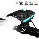 LED Fahrradlicht SONGGET USB Aufladbar Fahrradlampe Wasserdicht LED Frontlicht 3 Licht-Modi Fahrrad Licht mit Fahrrad-Horn für Radfahren,Wandern,Laufen,Walking,Camping