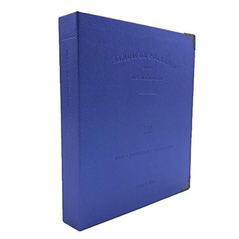 Woodmin 120 Pockets PU Leather Binder Coil Photo Album for 3-inch Fujifilm Instax Films, Fuji Mini 8 8+ Mini 9 70 90 25 50s 7s Photo Book Ticket Album Guest Book (Navy)