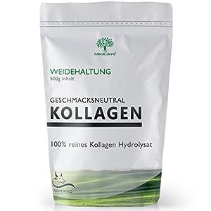 500g Kollagen Pulver   Collagen Hydrolysat aus Weidehaltung von MediCares – Peptide – High Proteine – Geschmacksneutral und ohne Zusätze Typ 1 & 2   vom Rind