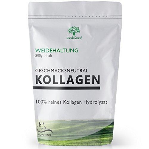 500g Kollagen Pulver | Collagen Hydrolysat aus Weidehaltung von MediCares - Peptide - 90{ced9ab16484b66a264f9490d3d3bc07bb6354a636dbe3e7dcc6811d190bc2ec1} Proteine - Geschmacksneutral und ohne Zusätze Typ 1 & 2 | vom Rind