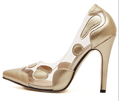 Da donna-Tacchi-Formale Serata e festa-Comoda Club Shoes-A stiletto-Di pelle-Rosso Argento Dorato Gold