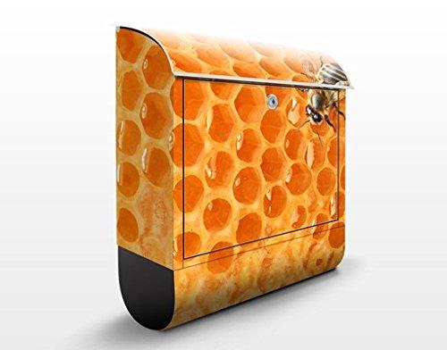 Design Briefkasten Honey Bee   Insekten Bienenstock Honig Bienen Waben, Postkasten mit Zeitungsrolle, Wandbriefkasten, Mailbox, Letterbox, Briefkastenanlage, Dekorfolie -