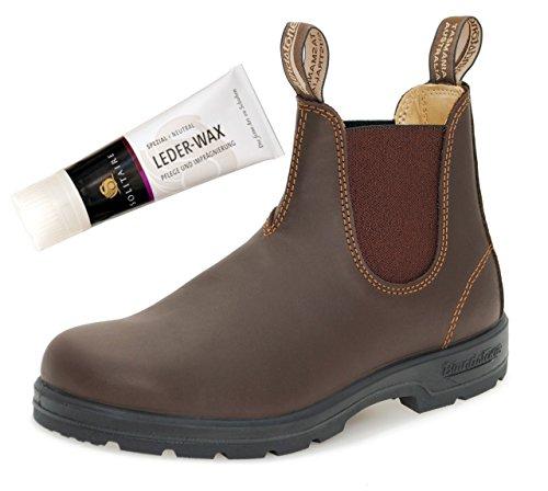 Blundstone Style 550 Comfort Boots Unisex Stiefelette Glattleder - Walnut Brown + Lederwax (UK 06.5 / EU 40.0)