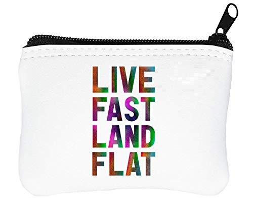Live Fast Land Flat Reißverschluss-Geldbörse Brieftasche Geldbörse