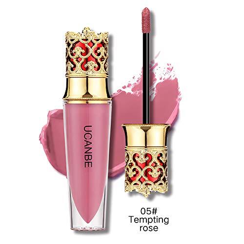 99L'amour Brillant à lèvres couronne 6 Couleurs Rouge à Lèvres Liquide Mattte Longue Durée Waterproof Brillant Maquillage à Lèvres Lot de (Rose vif)