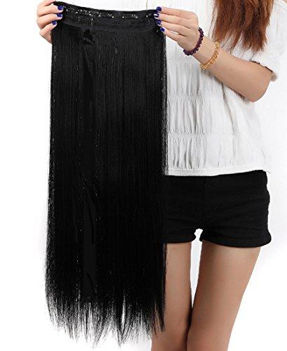 Extension dei capelli, 1 pezzi con 5 clips, 3/4 testa piena, colore: nero scuro, dimensioni: 66 cm-dritto