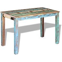 vidaxl mesa de comedor saln madera reciclada maciza estilo vintage 115x60x76 cm - Mesa Comedor Vintage