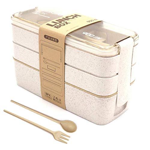LAKIND Lunchbox Brotdose Bento Box Vesperdose für Kinder und Erwachsene Mit 3 Fächern Auslaufsicher Mikrowelle Gefertigt aus Weizen Biologisch Abbaubar Plastikfrei BPA Frei (Beige)
