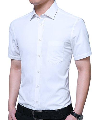 Kuson Herren Hemd Regular Fit Kurzarm für Business Hochzeit Freizeit Bügelleicht/Bügelfrei Reine Farbe Hemden Kurzarmhemd Weiß S