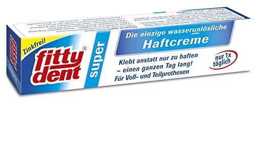 fittydent® Super Haftcreme 40g | Ober- und Unterkieferprothesen | Sparsam in der Anwendung - nur 1x täglich | Einzige wasserunlösliche Haftcreme | Für empfindliches Zahnfleisch | Geschmacksneutral