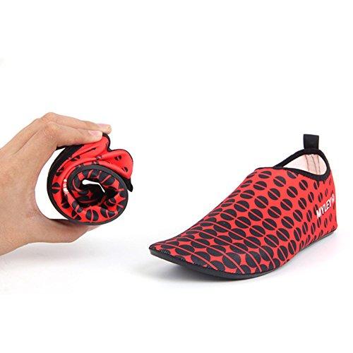 Unisex Strandschuhe Aquaschuhe Breathable Schlüpfen Schnell Trocknend Schwimmschuhe Surfschuhe Rot