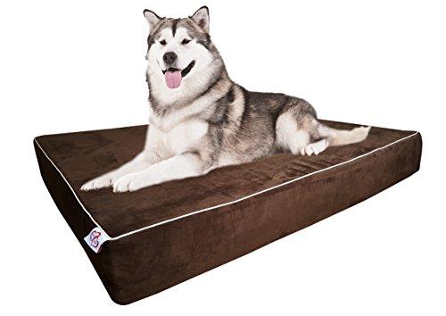 OnePet-TwoPet Große Hunde Bett Kissen Extra Big Pet Orthopädische Dual Layer Memory Foam | Therapeutische für Arthritis dysplasie | Extra Waschbar Bezug 44x 35x 6, Large, Schokobraun (Bett Großes Extra Orthopädisches)