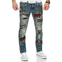 c9a3990fc3af Kosmo Lupo Herren Jeans Hose JeansHose Denim Zipper
