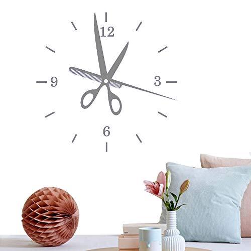 Salón de arte creativo Etiqueta de la pared Reloj de peluquería Etiqueta de la pared Baeber Shop Decoración Belleza Cortes de pelo Mural Decoración E 42 * 42cm