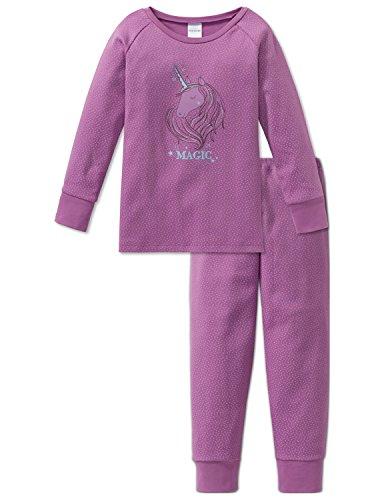Schiesser Mädchen Zweiteiliger Schlafanzug Einhorn Md Anzug Lang, Blau (Violett 810), 140