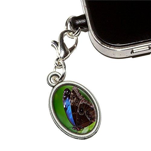 Schöne blaue Schmetterling auf Blatt Handy Jack Anti-Staub Oval Charm für iPhone iPod Galaxy