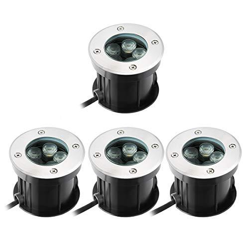 5W LED Bodeneinbaustrahler Warmweiß Aussen Einbaustrahler,Bodenleuchte AC 230V IP67 für Aussen Wegbeleuchtung Garten Terrasse Treppe -60° Abstrahlwinkel (4 pack)