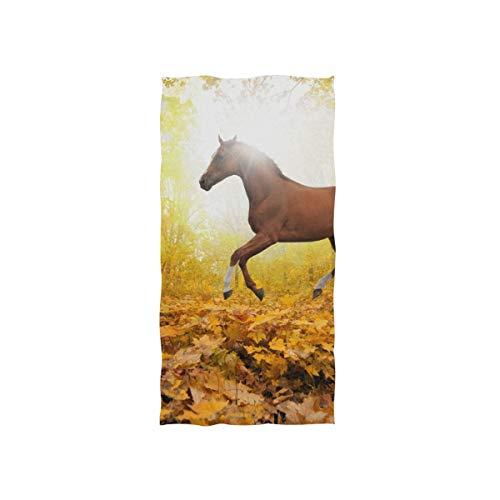 FANTAZIO Premium Baumwoll-Handtuch Pferd in Ahornblatt Wald Baumwolle Waschlappen