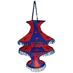 Pantalla lámpara Acordeón 50 cm azul-rojo algodón patchwork con rejilla para colgar iluminación de interior decoración