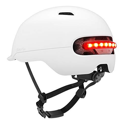 wasserdichte Smart Flash Fahrradhelm USB Lade LED Hintergrundbeleuchtung MTB Bike Scooter Protector Helm Radfahren Bremse Warnung Intelligente Schutzhelm (M,Weiß)