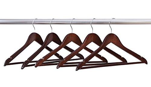 PYRUS grucce in legno massello naturale-Appendini in legno per gonne-Gruccia per pantaloni/gonne, confezione da 5 pezzi 5pcs Suit Hangers