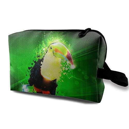 Reise-Kosmetiktaschen Long Mouthed Bird Travel Tragbare Make-up Tasche Zipper Wallet Hangbag (Satin-long Wallet)