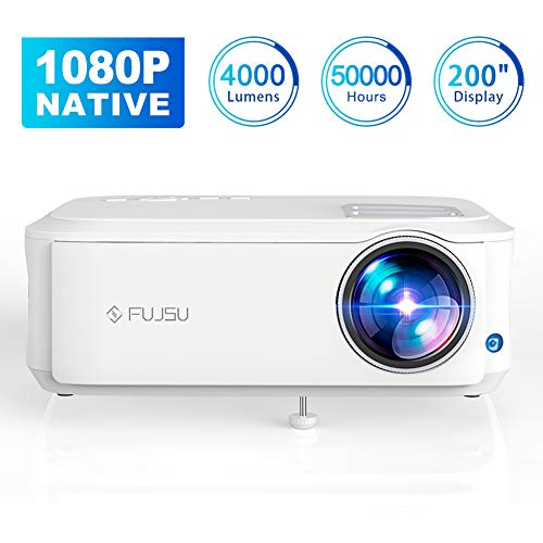 Beamer 1080P Full HD Native, 4000 Lumen Video Projektor +70{d59ec793f3b7d108a6308f14be64a18d7be5a560632fab3538816ae859c2b49b} Helligkeit 50,000 Stunden LED LCD Heimkino Beamer unterstützt HDMI VGA Y.Pb.Pr AV USB Geräte, Office,Fußballspiele,Filme
