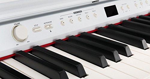 Classic Cantabile DP-50 WM E-Piano SET (Digitalpiano mit Hammermechanik, 88 Tasten, 2 Anschlüsse für Kopfhörer, USB, LED, 3 Pedale, Piano für Anfänger, Pianobank, Kopfhörer, Klavierschule) weiß matt - 3