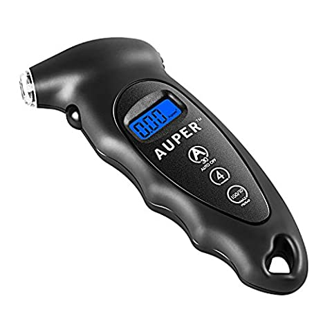 Digital Tire Pressure Gauge, Auper Best Electronic Tire Gauge 150 PSI / 10 BAR 4 Settings Air Pressure Gauge Tester with LCD Display and Keychain Hole for Car, Truck,Motorcycle, Mountain Bike and
