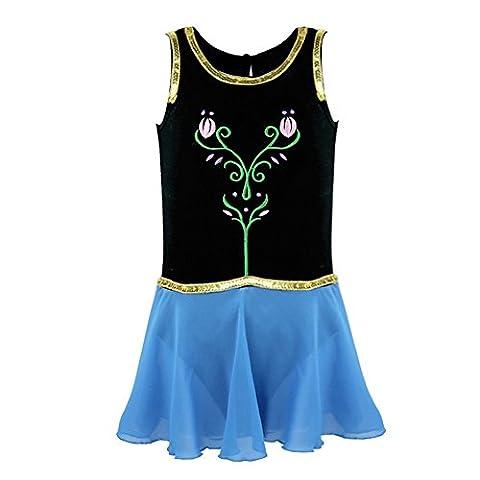 TiaoBug Fille Enfants Princesse Tutu Danse Ballet Robe Sans Manches Leotard Fantaisie Costume 4-12 Ans, Bleu, 8 Ans