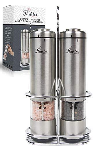 Salz und Pfeffer Mühle Elektrisch - Pfeffermühle Elektrische(2) von Flafster Kitchen - Elektrische Salz und Pfeffermühle Set mit Ständer - Keramikmühlen mit Licht und einstellbarer Grobheit