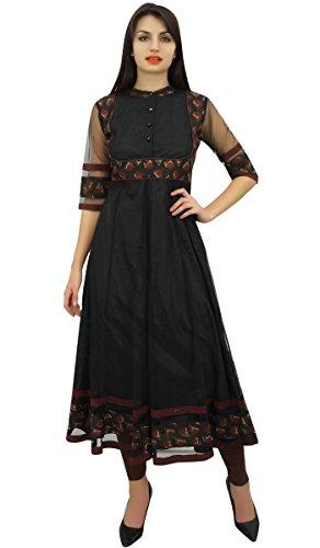 Phagun Frauen Schwarze Tunika Netto-Long-Anarkali Kurta Ethnic Kurti Bluse Kleid - 44 (Netto-long-kleid)