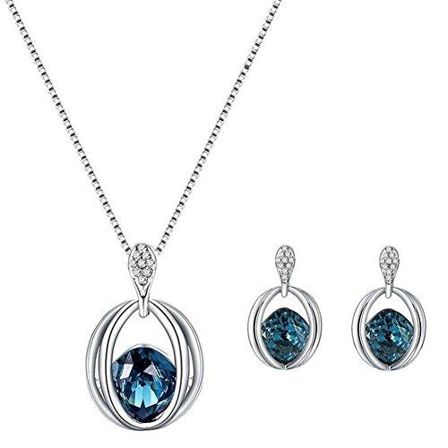 bigboba Halskette Ohrringe Set Frauen Diamant vergoldet Platin Kristall Anhänger für Schmuck Decor Weihnachten Geschenk Platin-hochzeit-sets Für Frauen