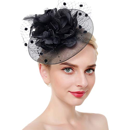 Airrioal Fascinator Hut für Frauen Clip Pillbox Hut Bowler Feder Blume Tee Party Stirnband - schwarz - Stil 2