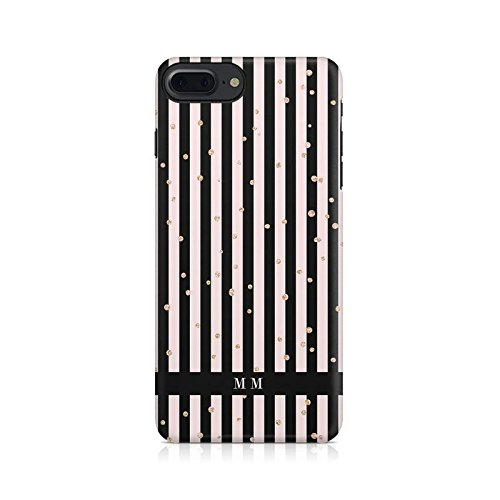 Custom Customize Personalized First And Last Name Initials Vintage Black & Pink Lines Pattern Schutzhülle aus Hartplastik Handy Hülle für iPhone 7 Plus / iPhone 8 Plus Case Hard Cover (Pink Hard Case Cover)