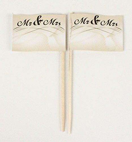 Party-Picker Flagge Hochzeit 6 Mr and Mrs Papierfähnchen in Profiqualität 50 Stück Beutel Offsetdruck Riesenauswahl aus eigener Herstellung …