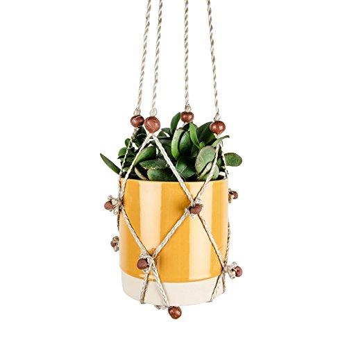 Gina Da Makramee Blumenampel Planthanger 89 cm aus Jute geflochten mit Handgemachten Keramikperlen