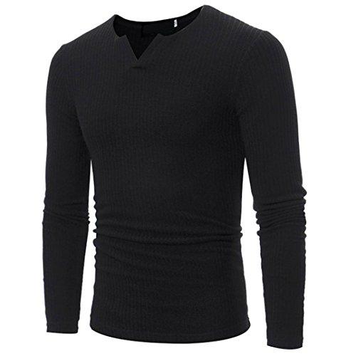Elecenty Herren Langarmshirt Longsleeve Slim Fit T-Shirt Leicht Oversize Basic Männer Sweatshirt Kompressionsshirt Grandad-Ausschnitt aus hochwertiger Baumwoll-Mischung (XXL, Schwarz 2)