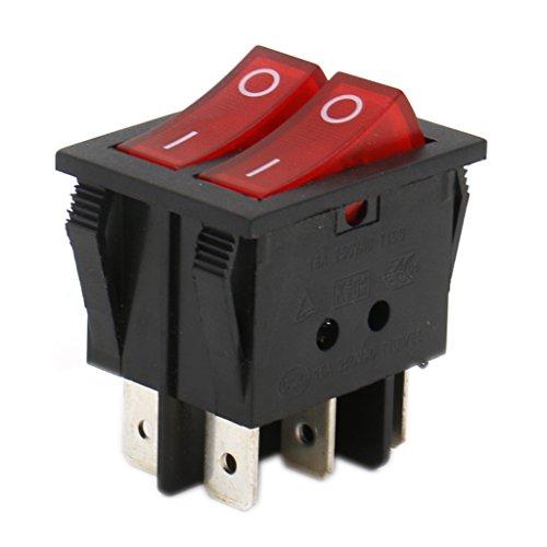 Heschen Doble interruptor basculante SPST encendido-apagado, con 6Terminales, con luz roja, 16A...