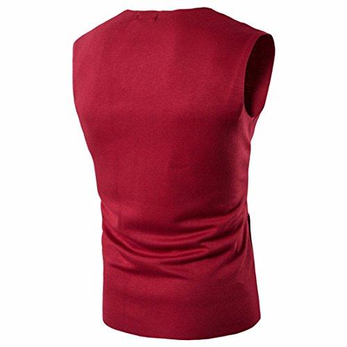 QIYUN.Z Männer Sommer Beiläufige Reißverschluss Sleeveless Weste Nehmen Passende T-Shirts Rot