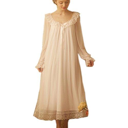 Singingqueen Damen Viktorianisches Nachthemd, lang, durchsichtig, Vintage, Spitze, Nachtwäsche, Netz-Baumwolle - Pink - X-Large - Rosa Zarte Chemise