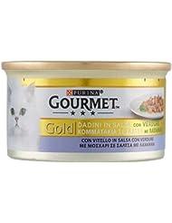 Gourmet Gold Dadini di Vitello in Salsa con Verdure, Cibo per Gatti - 85 gr