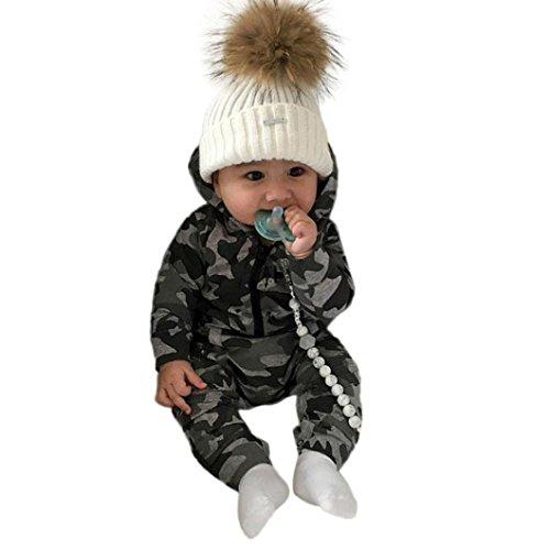 Baby Jungen Mädchen Camouflage Print Kapuzen-Overall Overall Kleidung Outfits Xinantime (0-3Monat, Tarnung)