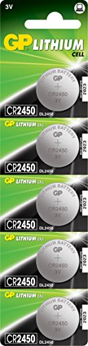 GP Batteries Lithium CR2450 - Batería/Pila, 610 mAh, Litio, 3V, 5 mm, 2.45 cm, 6.6g (0.233 oz), Plata, 5 Pilas