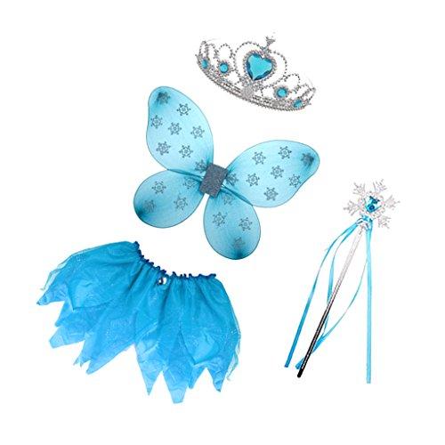 (MagiDeal Halloween Mädchen Kinder Engel Kostüm Feenkostüm Kostüme Set Fasching Karneval Party - Blau)