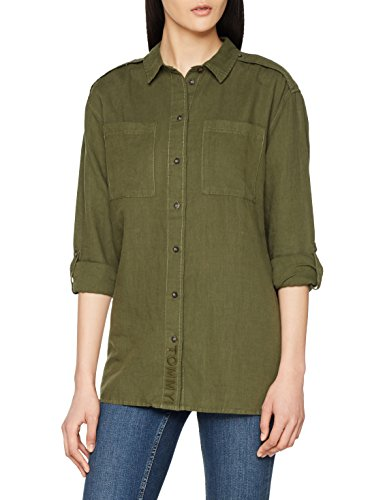 Tommy Jeans Damen Linen Blend Friend Shirt Langarm  T-Shirt Grün (Grape Leaf 389) Large