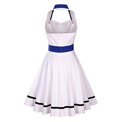 Wealsex Damen 50er Retro Kleid Schwingen Neckholder abendkleid Weiß