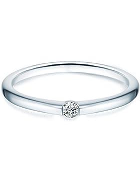 Tresor 1934 Damen-Ring / Verlobungsring / Spannring Sterling Silber rhodiniert Zirkonia weiß 60451020